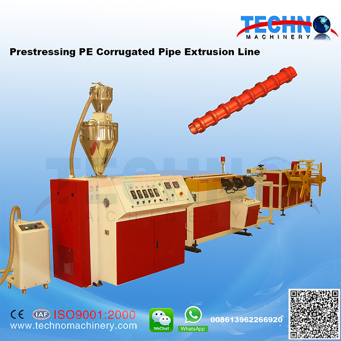 PE Pre-stressing Corrugated Pipe Extrusion Line